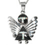 Inlaid Sterling Silver Angel Pendant 29523