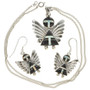 Onyx Silver Angel Pendant Earring Set 29523