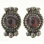 Navajo Garnet Silver Post Earrings 28862
