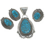 Turquoise Silver Pendant  Set 25282