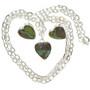 Turquoise Silver Heart Pendant Earring Set 29815