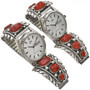 Vintage Zuni Coral Mens Silver Watch by Robert and Bernice Leekya 0697