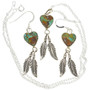 Green Turquoise Pendant Earring Set 29918