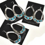 Blue Turquoise Large Teardrop Earrings Navajo Silver Dangles 29990