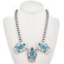 Natural Kingman Turquoise Silver Necklace 30012