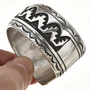 Navajo Overlay Design Silver Cuff Bracelet 30044
