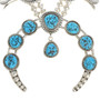 Blue Turquoise Squash Blossom Navajo Necklace Earring Set 30125