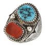 Turquoise Coral Silver Mens Navajo Ring 30127