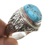 Bark Pattern Sterling Turquoise Mens Ring 30130
