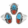 Turquoise Coral Navajo Made Rings 30188