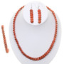 Native American Coral Bead Necklace Set 30304