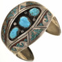 Old Pawn Turquoise Coral Sterling Cuff Bracelet 30472