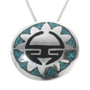 Navajo Sunface Turquoise Inlay Pendant 30755