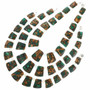 Green Jasper Bronze Infused Slab Beaded Necklace 31146