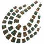 Green Jasper Bronze Infused Slab Beaded Necklace 31146