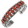 Vintage Native American Coral Sterling Silver Bracelet 31346