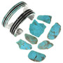 Hand Cut Turquoise Inlay set in Sterling Silver Bracelet 31354