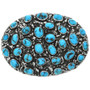 Navajo Sterling Silver Turquoise Belt Buckle 31366