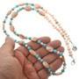 Turquoise Pearl Pink Shell Beaded Necklace 31394