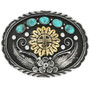 Gold Kachina Turquoise Silver Belt Buckle 31431