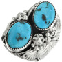 Two Stone Turquoise Silver Mens Ring 31492