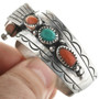 Turquoise Coral in Sterling Silver Navajo Cuff 31610