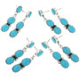 Turquoise Silver Post Dangle Earrings 31746