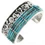 Navajo Sterling Silver Turquoise Nugget Bracelet 31762