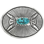Vintage Overlaid Silver Turquoise Belt Buckle 31837