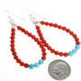 Coral Earrings Turquoise Accents on French Hooks 32028