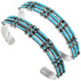 Blue Turquoise Set in Sterling Silver Cuff 32113