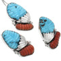 Carved Turquoise Pendant Zuni Artist Signed 32159