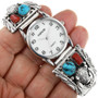 Turquoise Coral Sterling Silver Watch 32170