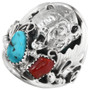 Turquoise Silver Bear Mens Ring 32184