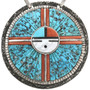 Zuni Sunface Turquoise Coral Necklace 32305