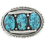 Turquoise Nugget Silver Belt Buckle 32505
