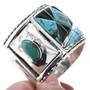 Native American Turquoise Jet Silver Cuff 32671
