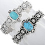 Ladies Sterling Turquoise Starburst Bracelet 33041