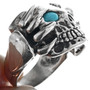 Turquoise Eyes Claw Skull Ring 33191