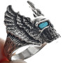 Winged Skull Turquoise Eyes Mens Ring 33192