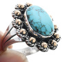 Sterling Silver 14K Gold Turquoise Ring 33565