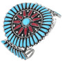 Old Pawn Turquoise Coral Cuff Bracelet 33570