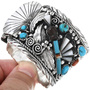 Genuine Turquoise Shell Sterling Silver Watch Bracelet 33579