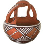 Vintage Isleta Polychrome Pottery With Twist Handle 33613