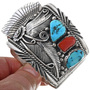 Sterling Turquoise Coral Watch Heavy Gauge Cuff 33624