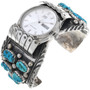 Old Pawn Turquoise Silver Mens Watch Cuff 33642