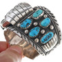 Turquoise Silver Heavy Gauge  Mens Watch Cuff 33642