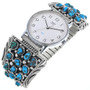 Vintage Navajo Turquoise Cluster Mens Watch Tips 33645