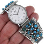 Navajo Turquoise Cluster Mens Watch Sterling Tips 33645