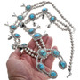 Sterling Silver Navajo Made Turquoise Necklace 33847